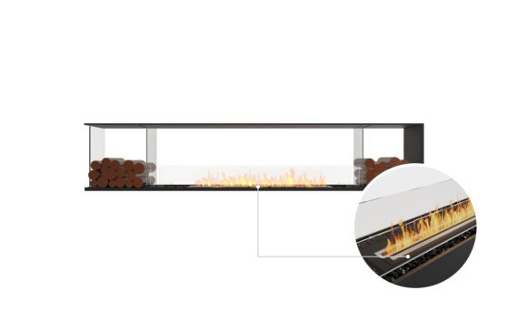 Flex 104PN.BX2 Peninsula - Ethanol - Black / Black / Installed View by EcoSmart Fire