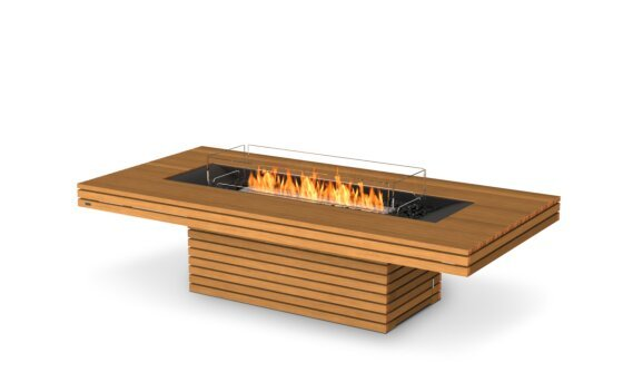 Gin 90 (Chat) Fire Pit - Ethanol / Teak / Optional Fire Screen by EcoSmart Fire